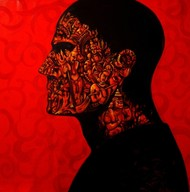 Belief by Sunil Lohar, Conceptual Painting, Acrylic on Canvas, Red color
