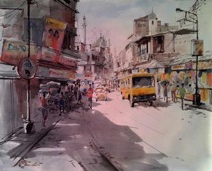 Kolkata VIII by Susanta Das, Impressionism Painting, Watercolor on Paper, Brown color