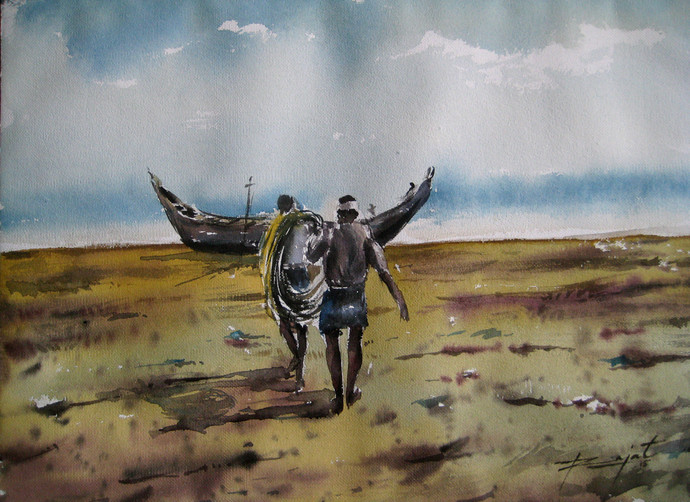 We by Rajat Subhra Bandopadhyay, Decorative Painting, Watercolor on Paper, Brown color