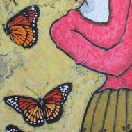 A girl and butterflies iv 36hx20win acrylic on canvas 210213 shiva mogali hrle