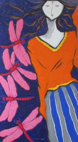 A Girl With Pink Dragonflies by Shivayogi Mogali, Expressionism Painting, Acrylic on Canvas, Blue color