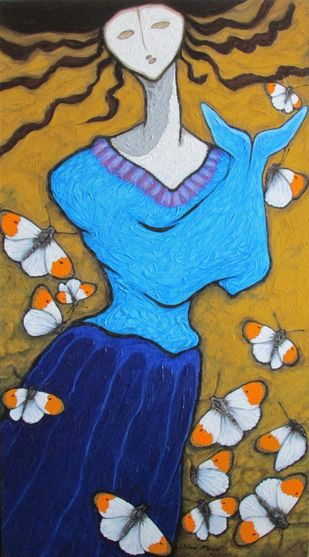 White Wings With Orange Tips by Shivayogi Mogali, Expressionism Painting, Acrylic on Canvas, Brown color