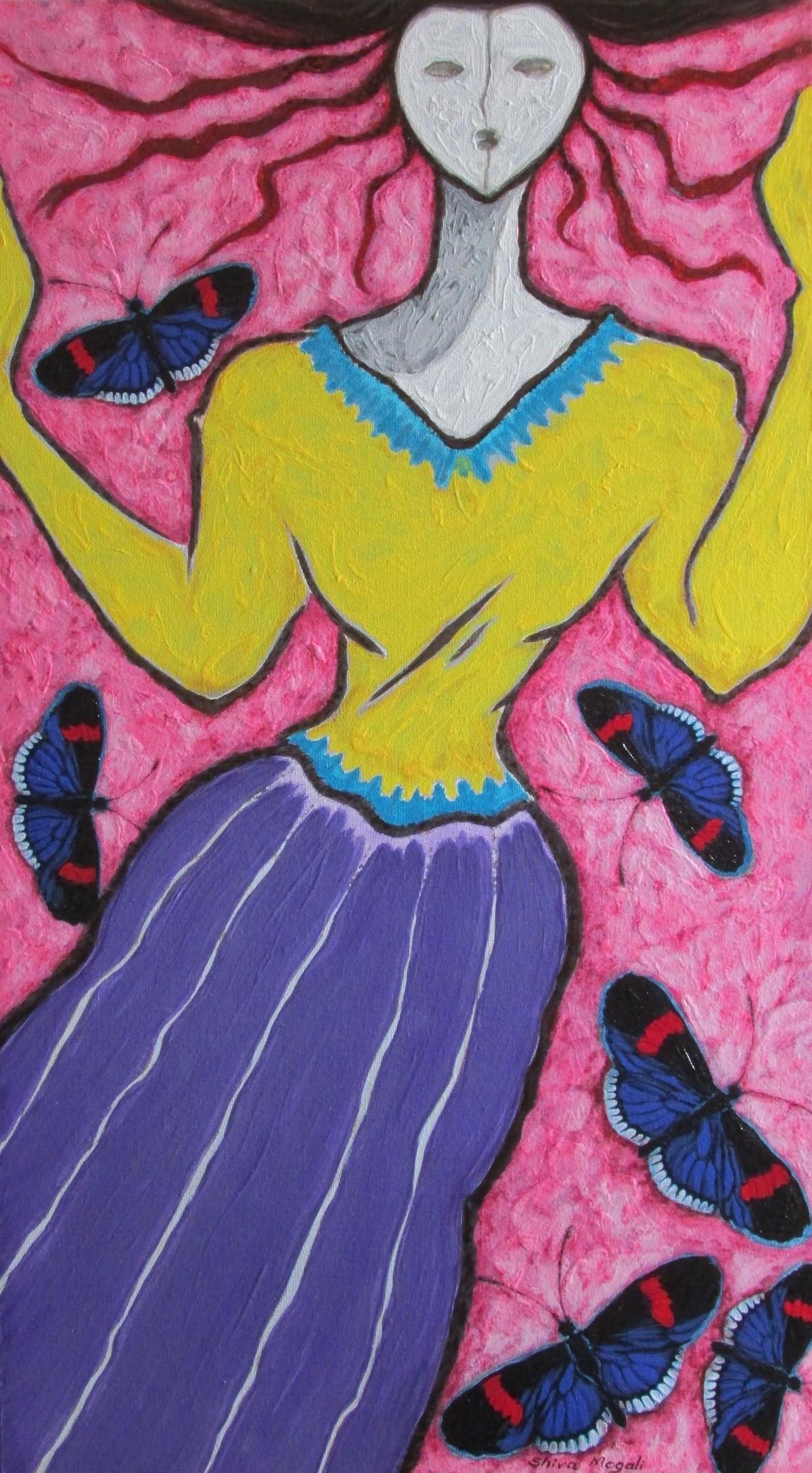 A Girl with Black Butterflies Digital Print by Shivayogi Mogali,Expressionism