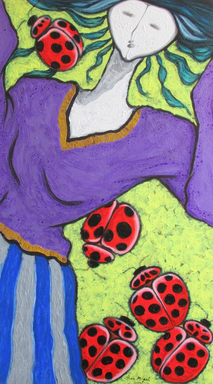 A Girl With Lady Bugs by Shivayogi Mogali, Expressionism Painting, Acrylic on Canvas, Blue color