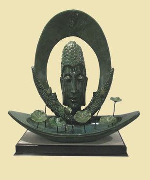 Meditation by Subrata Paul, Art Deco Sculpture | 3D, Fiber Glass, Yellow color