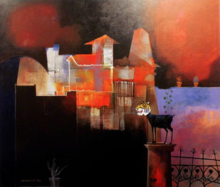 I am not Scared by Pradip Sengupta, Conceptual Painting, Acrylic on Canvas, Brown color