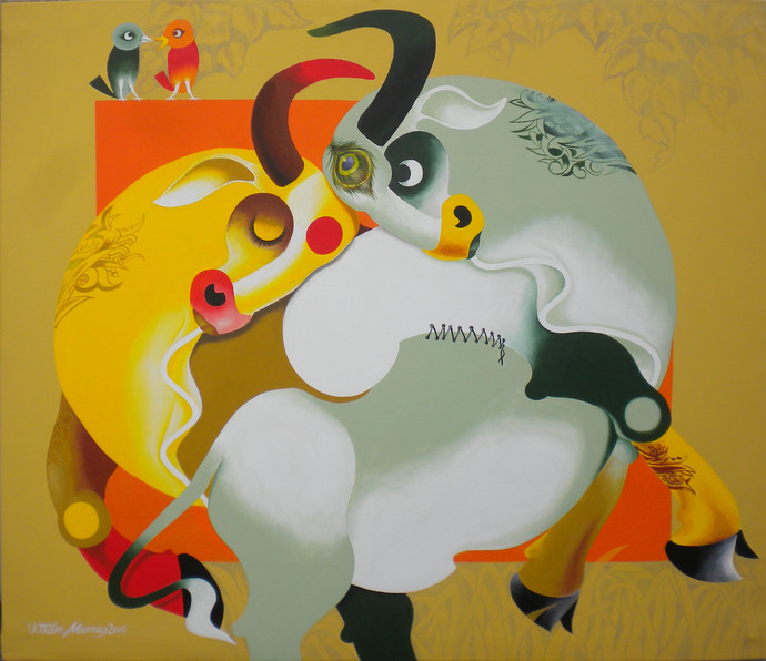 Love 2 by Uttam Manna, Decorative Painting, Acrylic on Canvas, Beige color