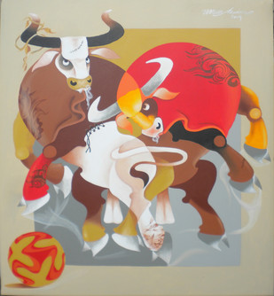 Play by Uttam Manna, Decorative Painting, Acrylic on Canvas, Beige color