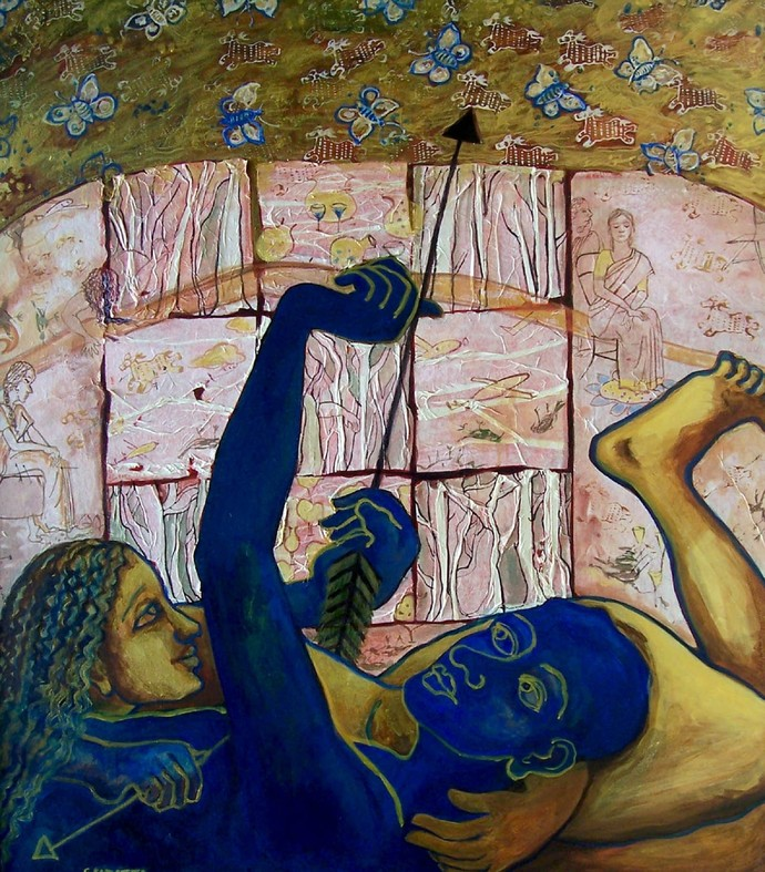 Mrigaya by Sudatta Basu, Conceptual Painting, Acrylic on Canvas, Brown color