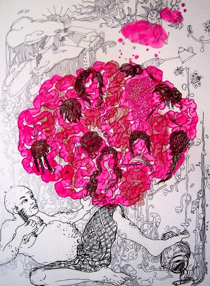 Pink Mania by Sudatta Basu, Conceptual Drawing, Color Pencil on Paper, Pink color