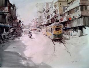 Kolkata II by Susanta Das, Impressionism Painting, Watercolor on Paper, Gray color