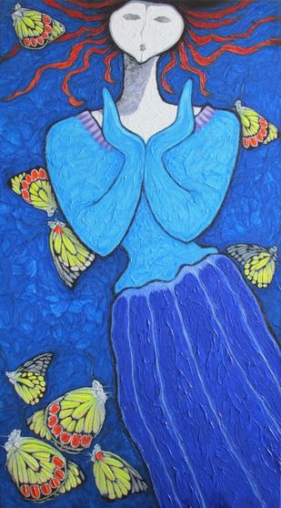 A Girl With Yellow Butterflies by Shivayogi Mogali, Expressionism Painting, Acrylic on Canvas, Blue color