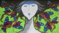 A Girl With Swallowtail Butterflies Digital Print by Shivayogi Mogali,Expressionism