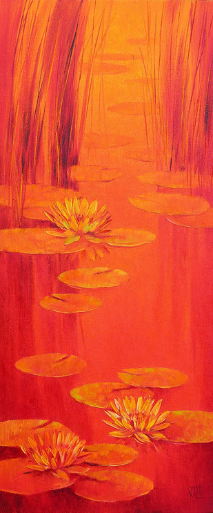 Water Lilies - 45 by Swati Kale, , , Red color