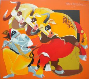 Catch Bull by Uttam Manna, Decorative Painting, Acrylic on Canvas, Orange color