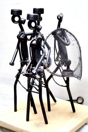 Fisherwoman by Uttam Manna, Art Deco Sculpture | 3D, Iron, Gray color