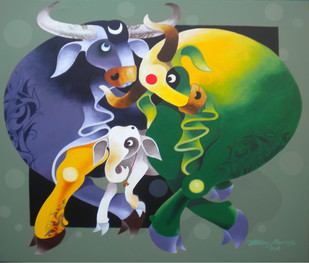 Family by Uttam Manna, Decorative Painting, Acrylic on Canvas, Green color