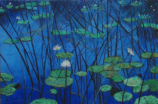 Water Lily 3 by Sulakshana Dharmadhikari, Impressionism Painting, Oil on Canvas, Blue color