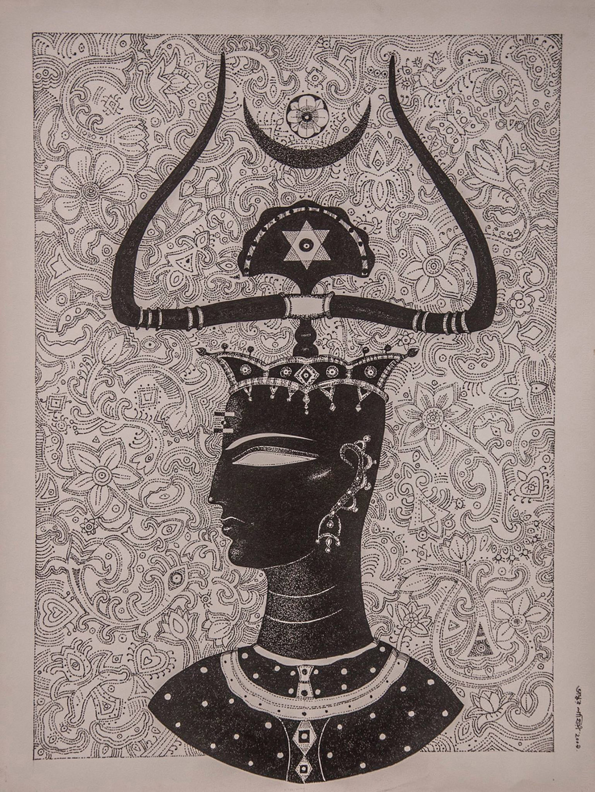 King by Bhaskar Lahiri, Folk Drawing, Pen & Ink on Paper, Brown color