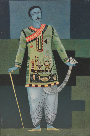 Babu by Bhaskar Lahiri, Folk Painting, Acrylic on Canvas, Green color