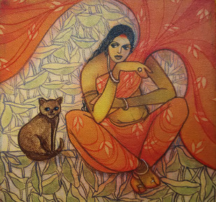 The Hope 08 by Vijaylaxmi D Mer, Decorative Painting, Mixed Media on Canvas, Brown color