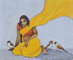 The Hope 13 by Vijaylaxmi D Mer, Decorative Painting, Mixed Media on Canvas, Cyan color