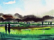 Landscape 2 by Ashis Kabasi, Impressionism Painting, Watercolor on Paper, Green color