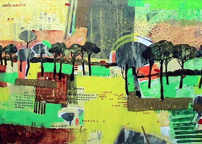 Abstract Landscape 2 by Ashis Kabasi, Impressionism Painting, Acrylic on Paper, Green color