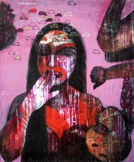 Imagination by Ashis Kabasi, Conceptual Painting, Acrylic on Canvas, Brown color