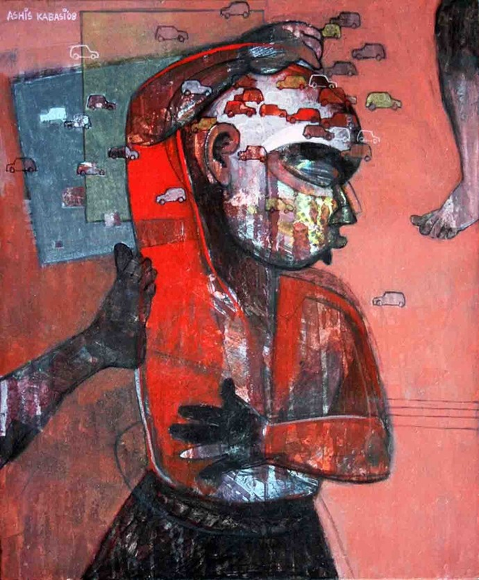 Imagination 1 by Ashis Kabasi, Conceptual Painting, Acrylic on Canvas, Brown color