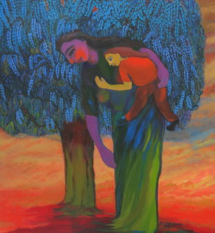 Life's Garden by Aradhna Tandon, Expressionism Painting, Oil & Acrylic on Canvas, Brown color