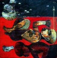 Imagination 4 by Ashis Kabasi, Conceptual Painting, Acrylic on Canvas, Brown color