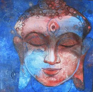 Buddha 2 by Ashis Kabasi, Decorative Painting, Acrylic on Canvas, Blue color