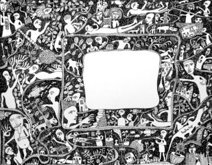 Untitled III by Indranath Majumdar, Conceptual Drawing, Pen & Ink on Paper, Gray color