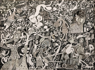 Untitled IV by Indranath Majumdar, Conceptual Drawing, Pen & Ink on Paper, Brown color
