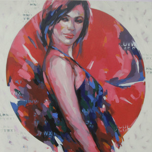 The Model by Anindya Mukherjee, Expressionism Painting, Acrylic on Canvas, Brown color