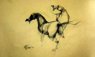 Motion VI by Mithun Dutta, Illustration Drawing, Charcoal on Paper, Beige color