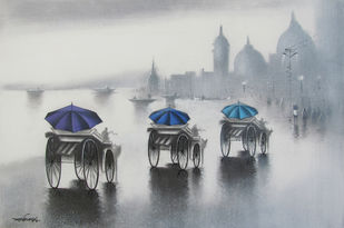 Monsoon Ride by Somnath Bothe, , , Gray color