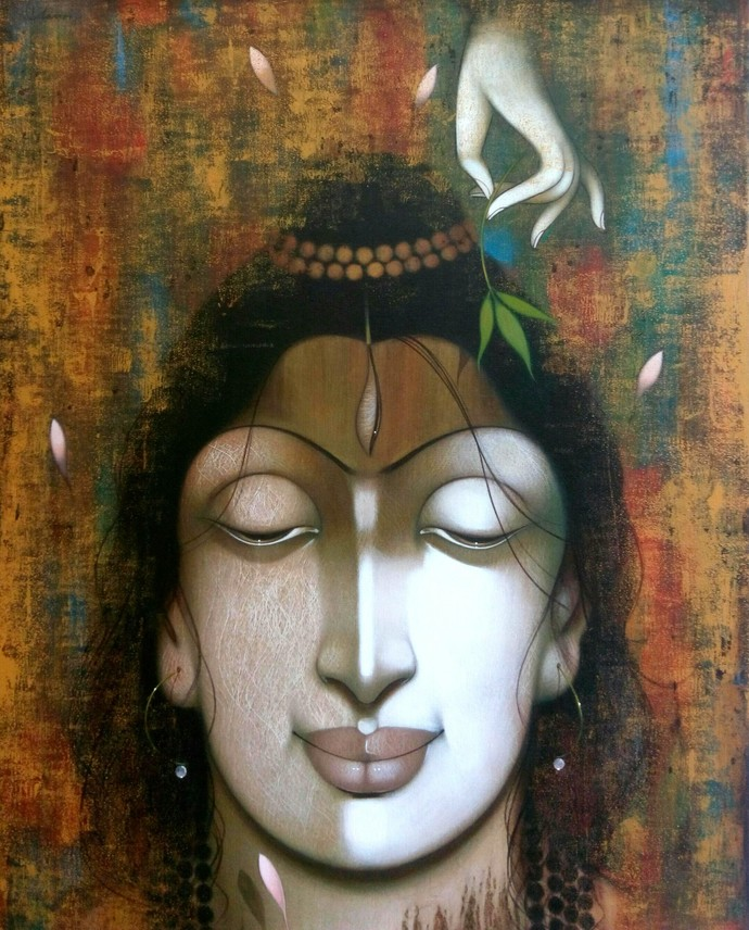 Offering by Manoj Aher, Conceptual Painting, Acrylic on Canvas, Brown color