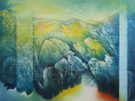 Untitled 2 by Baldev Gambhir, Decorative Painting, Oil on Canvas, Green color