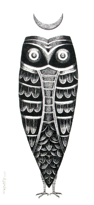 The Owl by Bhaskar Lahiri, Folk Drawing, Pen & Ink on Paper, White color