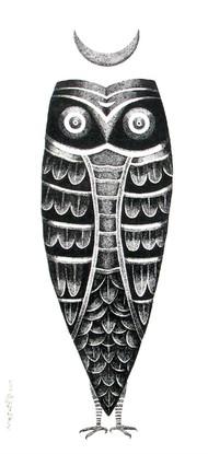 The Owl by Bhaskar Lahiri, Folk Drawing, Pen & Ink on Paper, White color