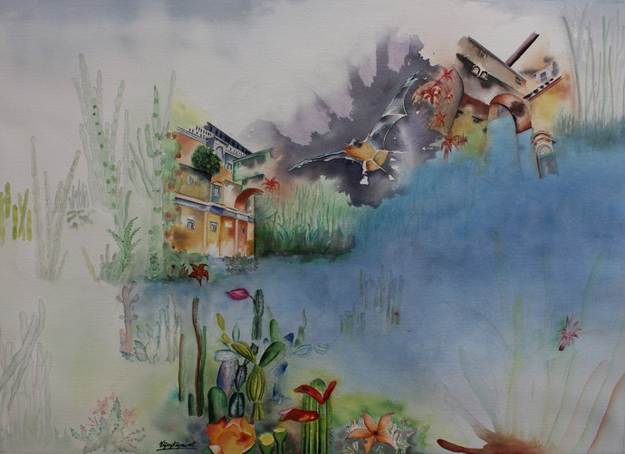 My Dream Garden 23 Digital Print by Vijay Kiyawat,Fantasy