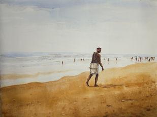 Fisherman by Raktim Chatterjee, Painting, Watercolor on Paper, Gray color