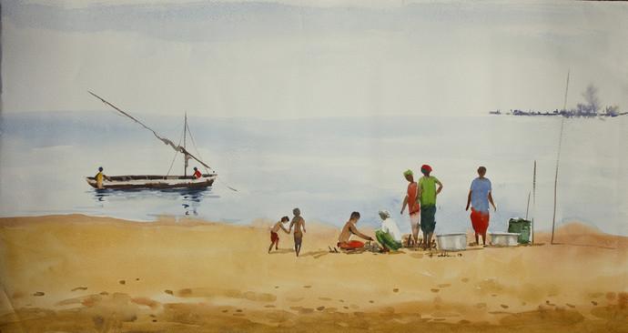 Fishermen by Raktim Chatterjee, Painting, Watercolor on Paper, Beige color