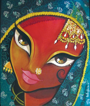 Jhoomar by Niloufer Wadia, Decorative Painting, Acrylic on Canvas, Green color