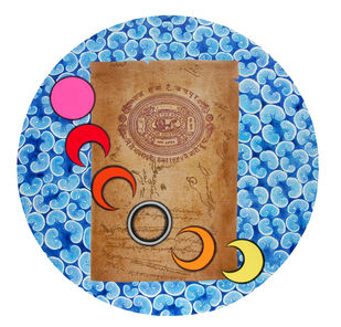 Silver Ring on Stamp by Malchand Pareek, Conceptual Painting, Mixed Media on Canvas, Cyan color