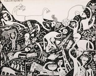 Nostalgia - I by Indranath Majumdar, Conceptual Drawing, Pen & Ink on Paper, Gray color