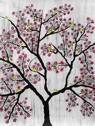 Cherry Blossom by Sumit Mehndiratta, Decorative Painting, Acrylic on Canvas, Gray color