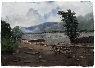 Cloudy Hill by Asim Paul, Impressionism Painting, Watercolor on Paper, Gray color